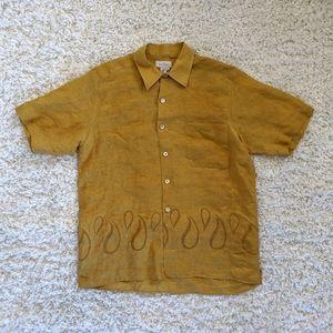 Ermenegildo Zegna MN's Brown Linen Shirt SZ XL